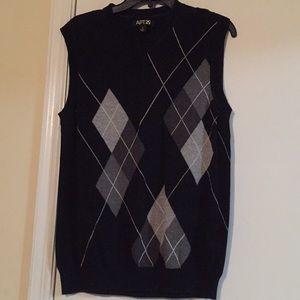 Black plaid sweater vest